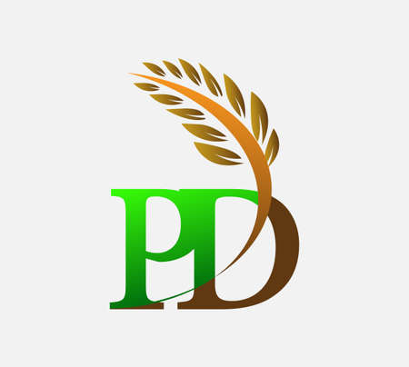 initial letter logo PD, Agriculture wheat Logo Template vector icon design colored green and brown. Ilustração