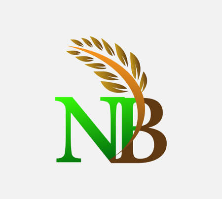 initial letter logo NB, Agriculture wheat Logo Template vector icon design colored green and brown. Ilustração