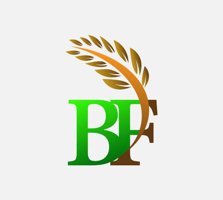 initial letter logo BF, Agriculture wheat Logo Template vector icon design colored green and brown. Ilustração