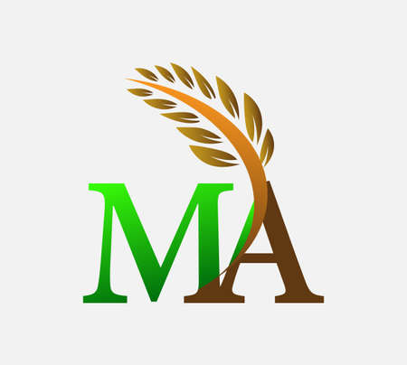 initial letter logo MA, Agriculture wheat Logo Template vector icon design colored green and brown.
