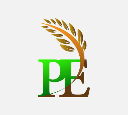 initial letter logo PE, Agriculture wheat Logo Template vector icon design colored green and brown.