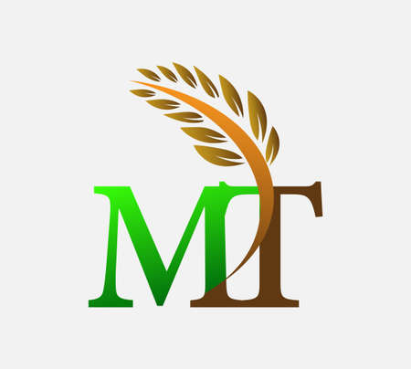 initial letter logo MT, Agriculture wheat Logo Template vector icon design colored green and brown. Ilustração