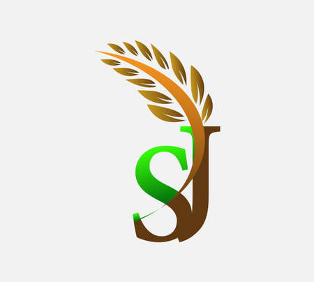 initial letter logo SJ, Agriculture wheat Logo Template vector icon design colored green and brown. Ilustração