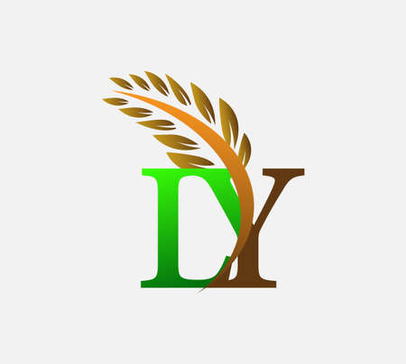 initial letter logo LY, Agriculture wheat Logo Template vector icon design colored green and brown. Ilustração