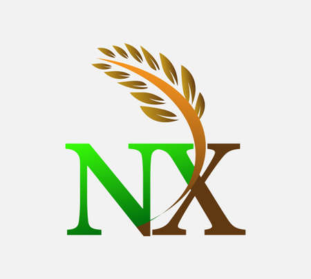 initial letter logo NX, Agriculture wheat Logo Template vector icon design colored green and brown.