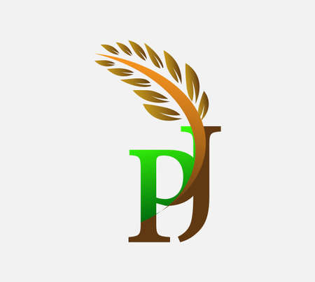 initial letter logo PJ, Agriculture wheat Logo Template vector icon design colored green and brown.