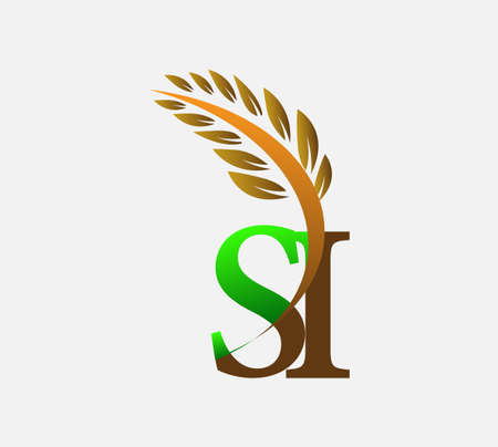 initial letter logo SI, Agriculture wheat Logo Template vector icon design colored green and brown. Ilustração