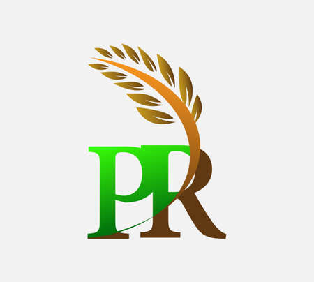 initial letter logo PR, Agriculture wheat Logo Template vector icon design colored green and brown. Ilustração