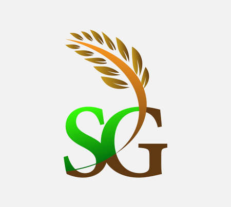initial letter logo SG, Agriculture wheat Logo Template vector icon design colored green and brown. Ilustração