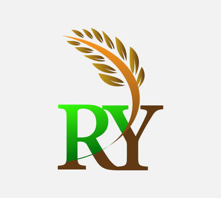 initial letter logo RY, Agriculture wheat Logo Template vector icon design colored green and brown.
