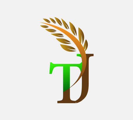 initial letter logo TJ, Agriculture wheat Logo Template vector icon design colored green and brown.