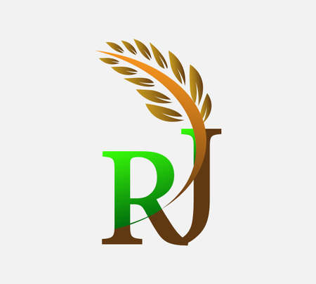 initial letter logo RJ, Agriculture wheat Logo Template vector icon design colored green and brown.