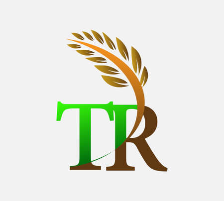 initial letter logo TR, Agriculture wheat Logo Template vector icon design colored green and brown.