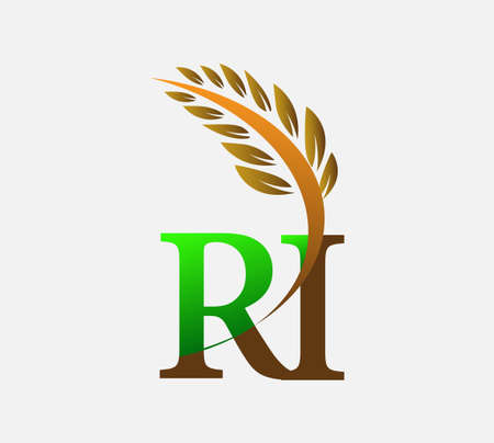 initial letter RI, Agriculture wheat symbol Template vector icon design colored green and brown.