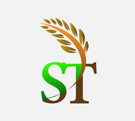 initial letter ST, Agriculture wheat symbol Template vector icon design colored green and brown.