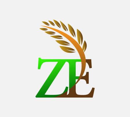 initial letter logo ZE, Agriculture wheat Logo Template vector icon design colored green and brown. Logo
