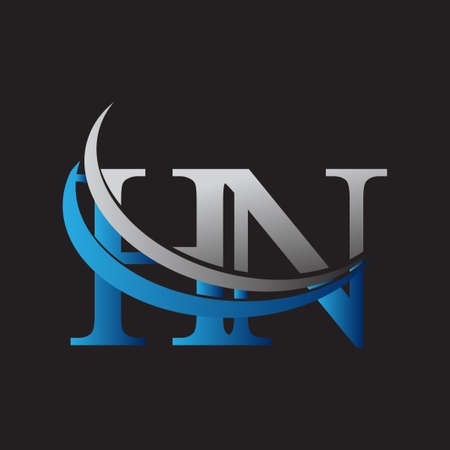 initial letter HN logotype company name colored blue and grey swoosh design. vector logo for business and company identity. Logo
