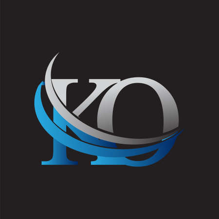 initial letter KO logotype company name colored blue and grey swoosh design. vector logo for business and company identity.