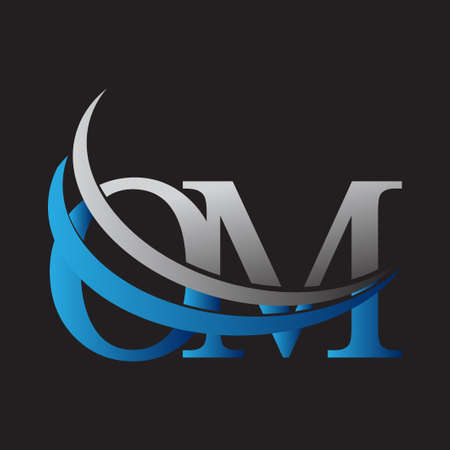 initial letter OM logotype company name colored blue and grey swoosh design. vector logo for business and company identity. Logo