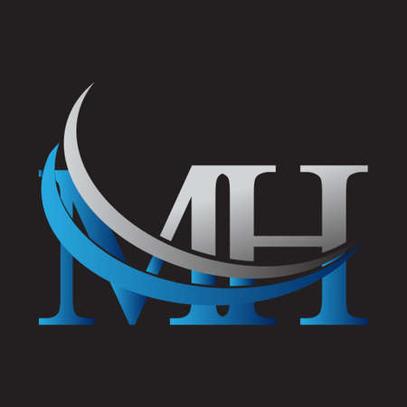 initial letter MH logotype company name colored blue and grey swoosh design. vector logo for business and company identity.
