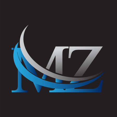 initial letter MZ logotype company name colored blue and grey swoosh design. vector logo for business and company identity. Logó