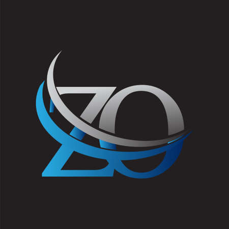initial letter ZO logotype company name colored blue and grey swoosh design. vector logo for business and company identity.