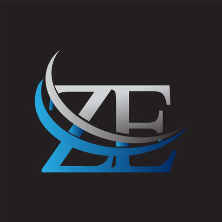 initial letter ZE logotype company name colored blue and grey swoosh design. vector logo for business and company identity.
