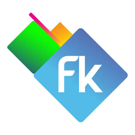Letter FK logo with colorful geometric shape, letter combination logo design for creative industry, web, business and company.