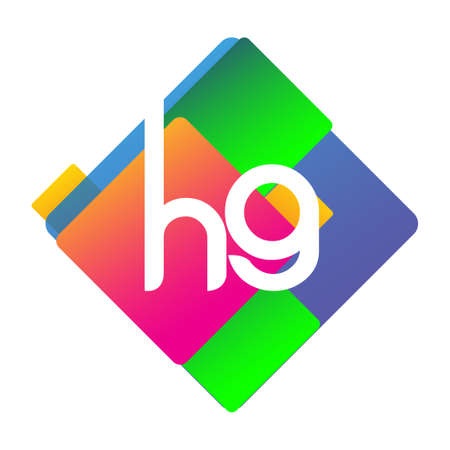 Letter HG logo with colorful geometric shape, letter combination logo design for creative industry, web, business and company. 向量圖像