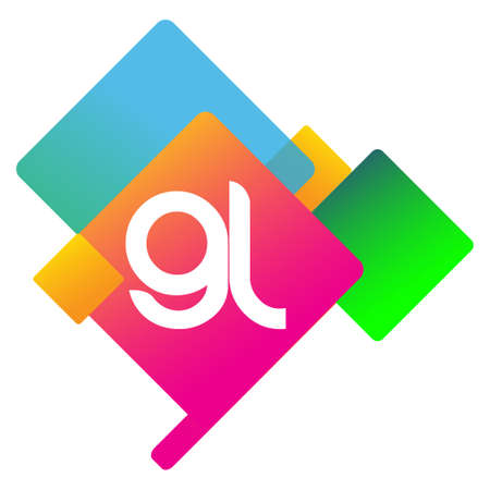 Letter GL logo with colorful geometric shape, letter combination logo design for creative industry, web, business and company.