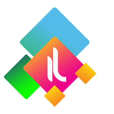 Letter IL logo with colorful geometric shape, letter combination logo design for creative industry, web, business and company.