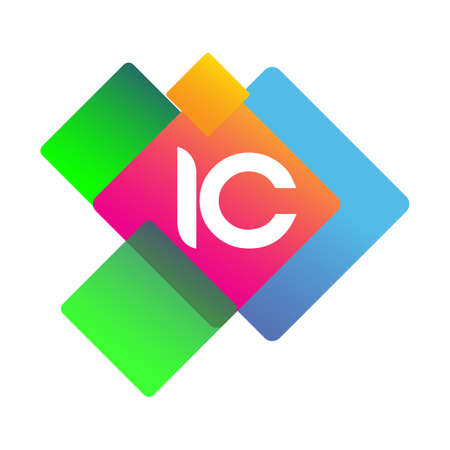 Letter IC logo with colorful geometric shape, letter combination logo design for creative industry, web, business and company.