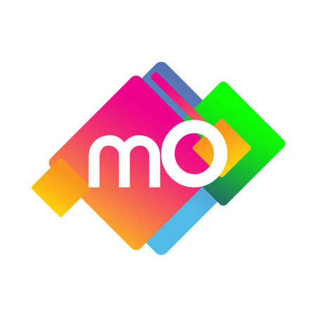 Letter MO symbol with colorful geometric shape, letter combination design for creative industry, web, business and company.