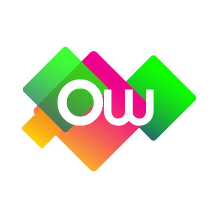 Letter OW symbol with colorful geometric shape, letter combination design for creative industry, web, business and company.