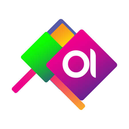 Letter OI symbol with colorful geometric shape, letter combination design for creative industry, web, business and company.