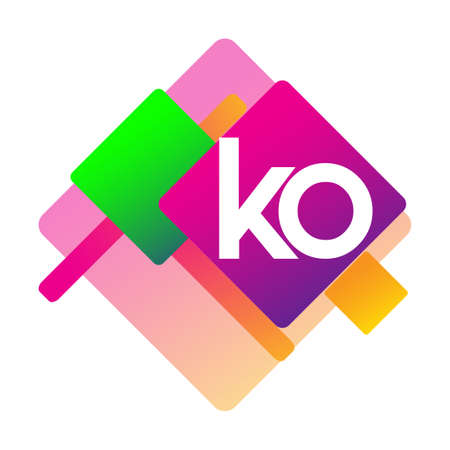 Letter KO logo with colorful geometric shape, letter combination logo design for creative industry, web, business and company. Logo