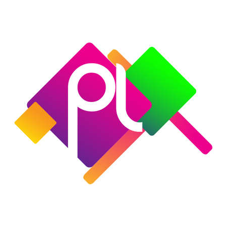 Letter PL logo with colorful geometric shape, letter combination logo design for creative industry, web, business and company. Ilustrace