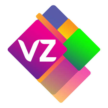 Letter VZ logo with colorful geometric shape, letter combination logo design for creative industry, web, business and company. Logó