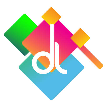 Letter DL logo with colorful geometric shape, letter combination logo design for creative industry, web, business and company. Ilustrace
