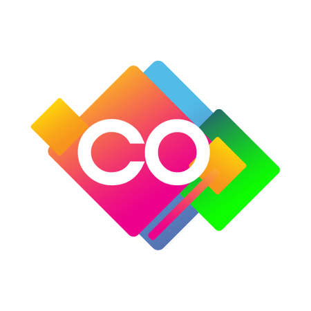 Letter CO logo with colorful geometric shape, letter combination logo design for creative industry, web, business and company.