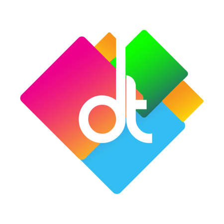 Letter DT with colorful geometric shape, letter combination design for creative industry, web, business and company.