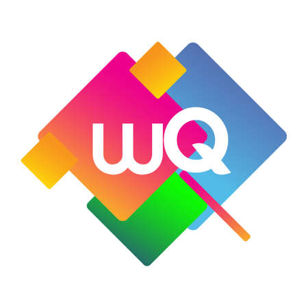 Letter WQ with colorful geometric shape, letter combination design for creative industry, web, business and company.