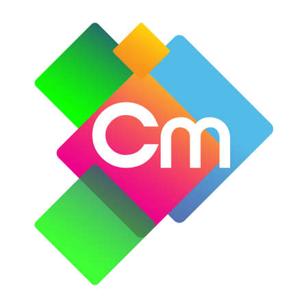 Letter CM with colorful geometric shape, letter combination design for creative industry, web, business and company.