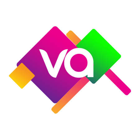 Letter VA with colorful geometric shape, letter combination design for creative industry, web, business and company.