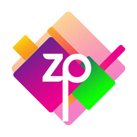Letter ZP with colorful geometric shape, letter combination design for creative industry, web, business and company.