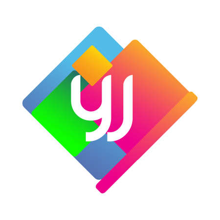 Letter YJ with colorful geometric shape, letter combination design for creative industry, web, business and company.