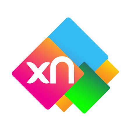 Letter XN with colorful geometric shape, letter combination design for creative industry, web, business and company.