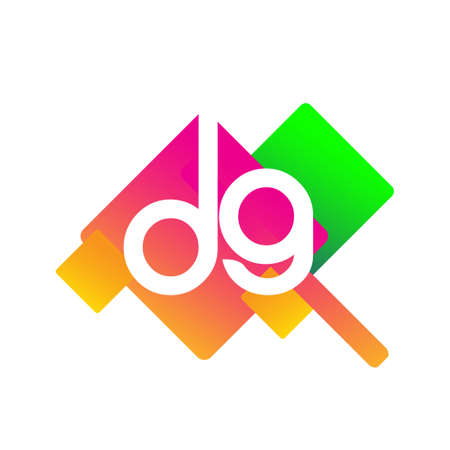Letter DG with colorful geometric shape, letter combination design for creative industry, web, business and company.