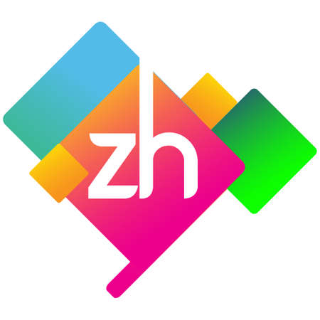 Letter ZH with colorful geometric shape, letter combination design for creative industry, web, business and company.