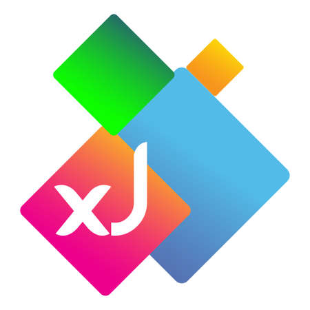 Letter XJ with colorful geometric shape, letter combination design for creative industry, web, business and company.